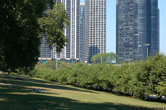 CHICAGO - Da Grant Park attraversiamo Lake Shore Drive e ci dirigiamo sul lungolago - a destra spicca l'Harbor Point