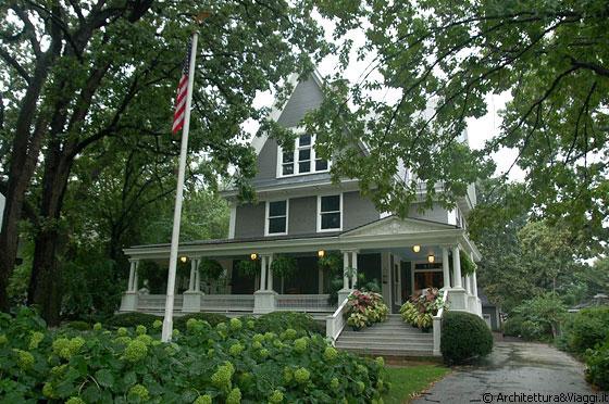 Illinois joseph simpson dunlop house casa con portico for Casa in stile ranch con portico